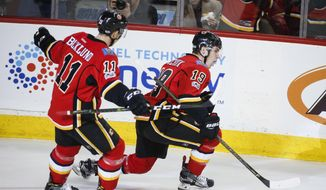 Calgary Flames' Matthew Tkachuk, right, celebrates his goal as teammate Mikael Backlund, of Sweden, looks on during first-period NHL hockey game action against the Detroit Red Wings in Calgary, Alberta, Friday, March 3, 2017. (Jeff McIntosh/The Canadian Press via AP)