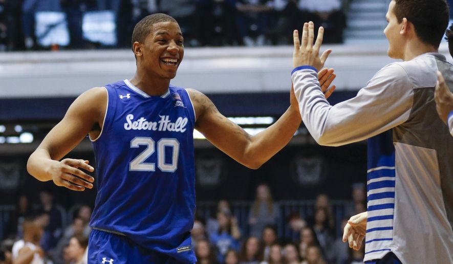 Seton Hall forward Desi Rodriguez (20) reacts during the second half of an NCAA college basketball game, Saturday, March 4, 2017, in Indianapolis. Seton Hall won 70-64. (AP Photo/Sam Riche)