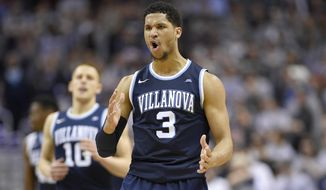 Villanova guard Josh Hart (3) reacts after he hit a 3-pointer during the second half of an NCAA college basketball game against the Georgetown, Saturday, March 4, 2017, in Washington. Villanova won 81-55. (AP Photo/Nick Wass) **FILE**