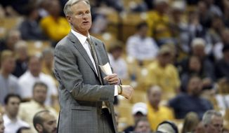 This Feb. 28, 2017 photo shows Missouri head coach Kim Anderson on the sidelines during the first half of an NCAA college basketball game against Texas A&M in Columbia, Mo. Missouri has fired Anderson after less than three seasons with his alma mater. Tigers athletic director Jim Sterk said in a statement Sunday, March 5, 2017 that he asked Anderson to step down after next week's SEC Tournament. Missouri is the No. 14 seed and plays Auburn on Wednesday night. (AP Photo/Jeff Roberson)
