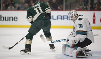 Minnesota Wild left wing Zach Parise (11) slips the puck between the legs of San Jose Sharks goalie Martin Jones (31) in the first period of an NHL hockey game, Sunday, March 5, 2017, in St. Paul, Minn. (Jeff Wheeler/Star Tribune via AP)