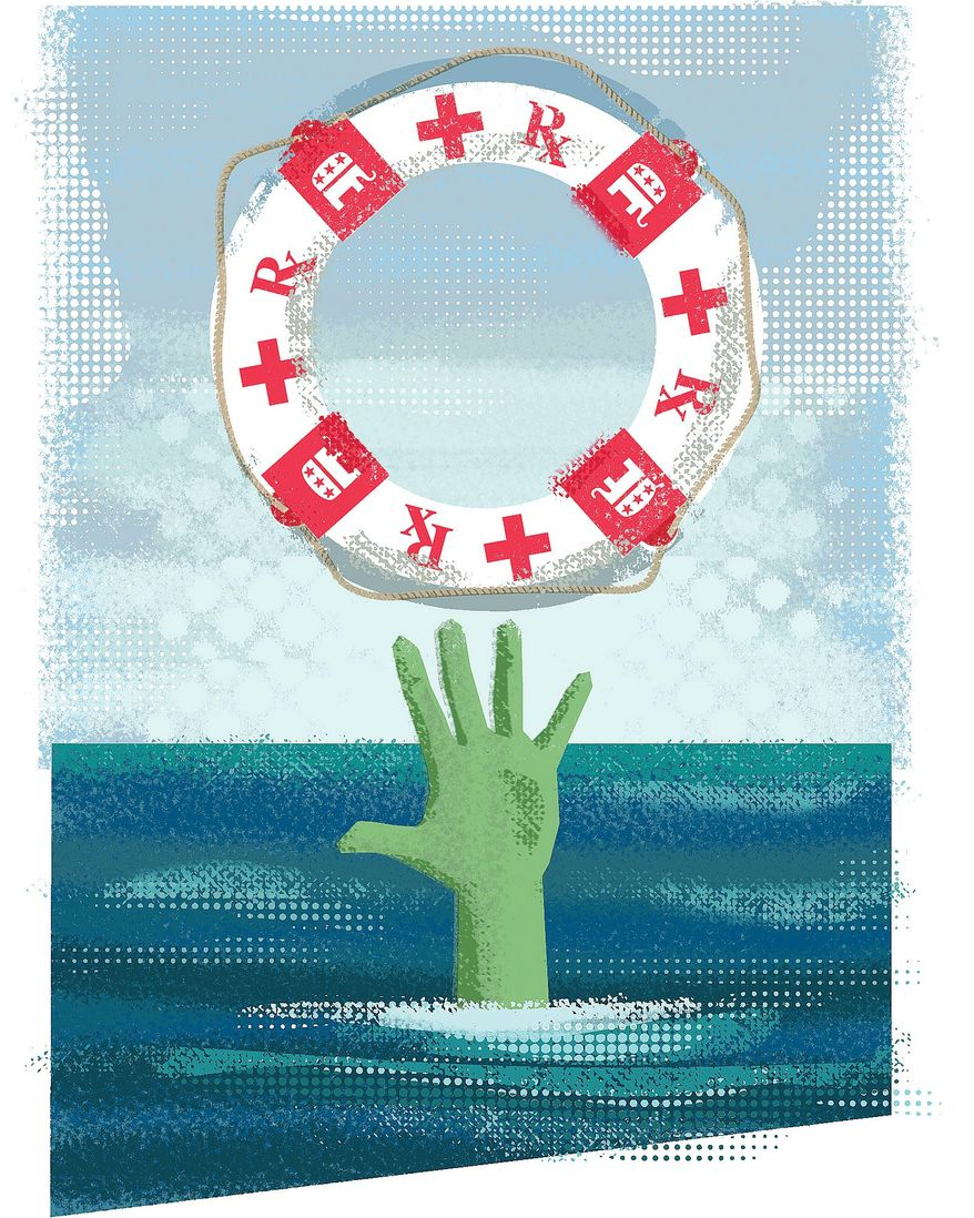 Illustration on rescue plans for Obamacare members by Linas Garsys/The Washington Times