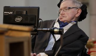 Britain's Professor Stephen Hawking delivers a keynote speech as he receives the Honorary Freedom of the City of London during a ceremony at the Guildhall in the City of London, Monday, March 6, 2017. Hawking was presented the City of London Corporation's highest award Monday in recognition of his outstanding contribution to theoretical physics and cosmology. (AP Photo/Matt Dunham)