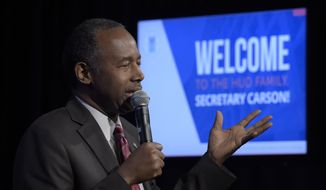 Housing a Urban Development Secretary Ben Carson speaks to HUD employees in Washington, Monday, March 6, 2017. (AP Photo/Susan Walsh)