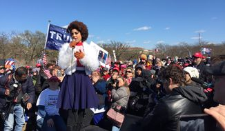 "Joy Villa, the singer who skyrocketed to fame after wearing a ""Make America Great Again"" dress at the Grammy Awards, gave the keynote speech at Saturday's March4Trump rally in the nation's capital. (Twitter/@Joy_Villa)"
