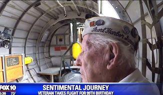 World War II veteran Eugene Leonard took flight in a B-17 bomber for his 99th birthday, Saturday, March 4, 2017. (Fox-10 Phoenix screenshot)