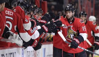 Ottawa Senators' Derick Brassard (19) celebrates his goal against the Boston Bruins during the first period of an NHL hockey game, Monday, March 6, 2017 in Ottawa, Ontario. (Justin Tang/The Canadian Press via AP)