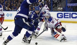 New York Rangers goalie Antti Raanta, of Finland, looks for a rebound as Tampa Bay Lightning's Tyler Johnson reaches for it during the second period of an NHL hockey game, Monday, March 6, 2017, in Tampa, Fla. (AP Photo/Mike Carlson)