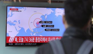 "A man watches a TV news program reporting about North Korea's missile firing at Seoul Train Station in Seoul, South Korea, Monday, March 6, 2017.   North Korea on Monday fired four banned ballistic missiles that flew about 1,000 kilometers (620 miles), with three of them landing in Japan's exclusive economic zone, South Korean and Japanese officials said, in an apparent reaction to huge military drills by Washington and Seoul that Pyongyang insists are an invasion rehearsal.  The letters on the top read "" North Korea, Fire missile.""  The letters on the top read "" North Korea, Fire missile."" (AP Photo/Lee Jin-man)"
