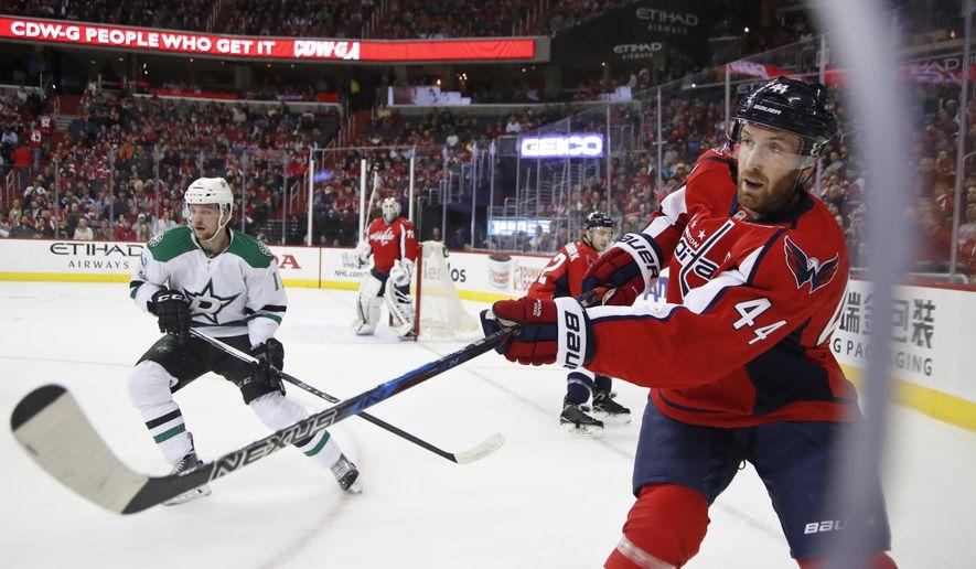 Washington Capitals defenseman Brooks Orpik (44) hits the puck during the first period of an NHL hockey game in Washington, Monday, March 6, 2017. (AP Photo/Manuel Balce Ceneta) ** FILE **