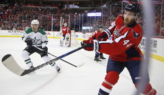 Washington Capitals defenseman Brooks Orpik (44) hits the puck during the first period of an NHL hockey game in Washington, Monday, March 6, 2017. (AP Photo/Manuel Balce Ceneta)