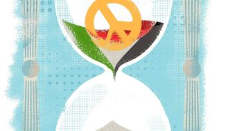 Illustration on the Israeli/Palestinian peace process by Linas Garsys/The Washington Times
