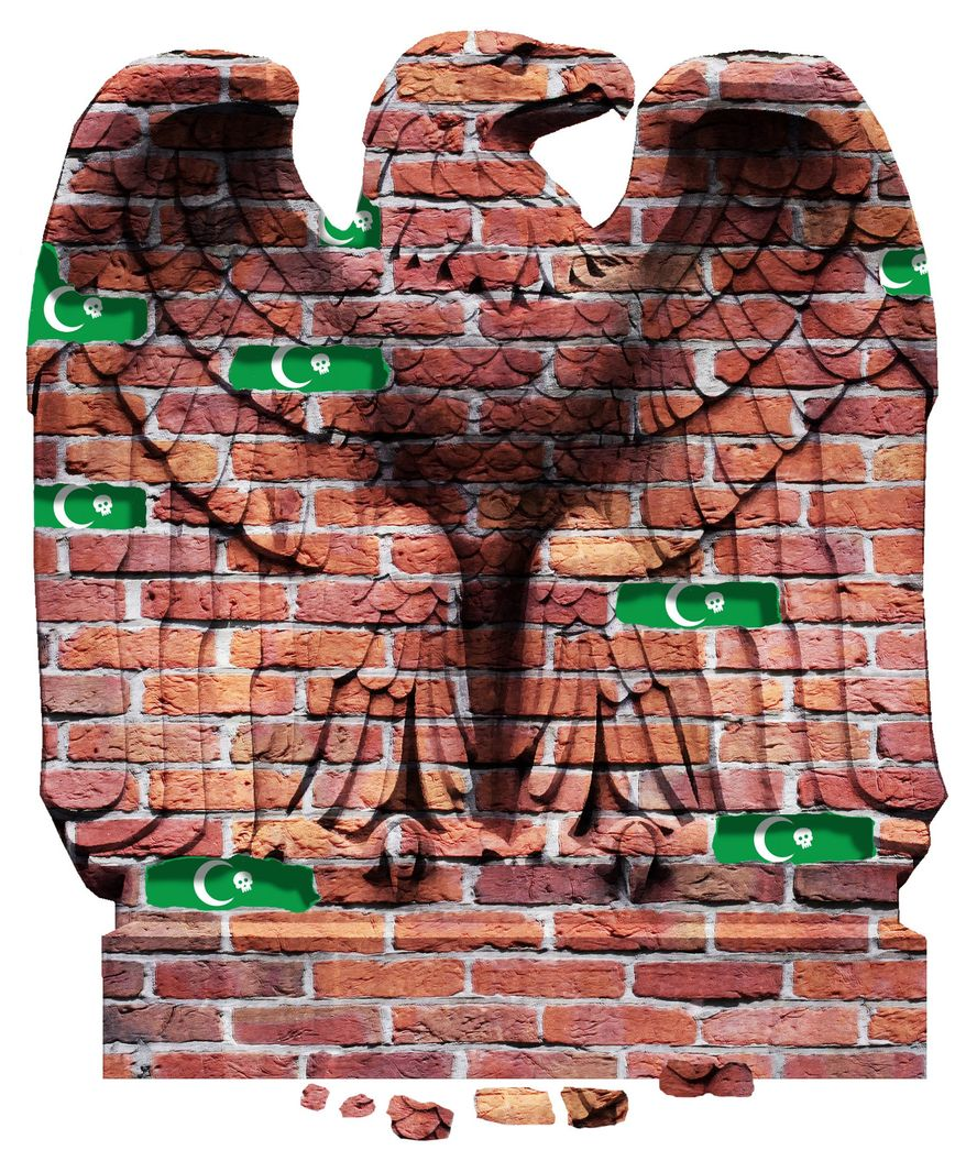 Illustration on Islamist infiltration of the U.S. government by Alexander Hunter/The Washington Times