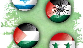 Illustration on dangers to the nation of Jordan by Greg Groesch/The Washington Times
