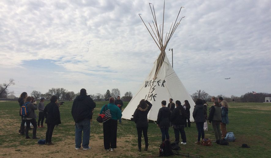 A teepee camp on the National Mall this week is serving as a visual medium to raise awareness for American Indian rights. The four-day demonstration will culminate Friday with a march and a rally at the White House. (Julia Brouillette/The Washington Times)
