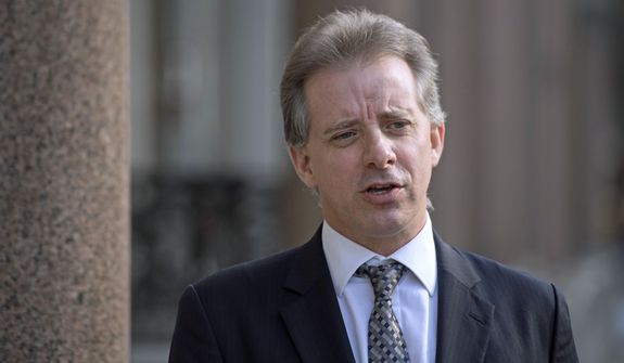 Former British intelligence agent Christopher Steele was hired by Fusion GPS co-founder Glenn Simpson in 2015 to compile opposition research on presidential candidate Donald Trump. Three Russian bankers mentioned in the dossier are now suing Mr. Simpson for libel. (Associated Press/File)