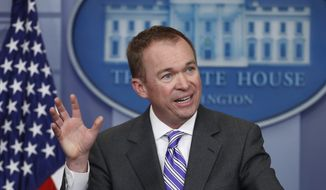 FILE - In this Feb. 27, 2017 file photo, Budget Director Mick Mulvaney speaks to reporters during a daily press briefing at the White House in Washington. Republican leaders embarked on an ambitious plan Tuesday to try to sell their new health care proposal to rank-and-file lawmakers and the public, absent specifics on costs or how many Americans will be covered.  (AP Photo/Manuel Balce Ceneta, File)
