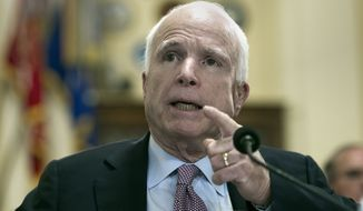 Sen. John McCain, R-Az., addresses the House Veterans' Affairs Committee on the Department of Veterans Affairs community care program, on Captiol Hill in Washington, Tuesday, March 7, 2017. (AP Photo/Cliff Owen)