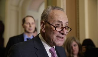 Senate Minority Leader Chuck Schumer of N.Y., criticizes the Republican health care plan designed to replace Obamacare, Tuesday, March 7, 2017, during a news conference on Capitol Hill in Washington. (AP Photo/J. Scott Applewhite) ** FILE **