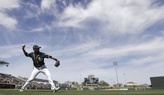 Oakland Athletics' Jed Lowrie throws before a spring training baseball game against the Cleveland Indians, Saturday, March 4, 2017, in Mesa, Ariz. (AP Photo/Darron Cummings)