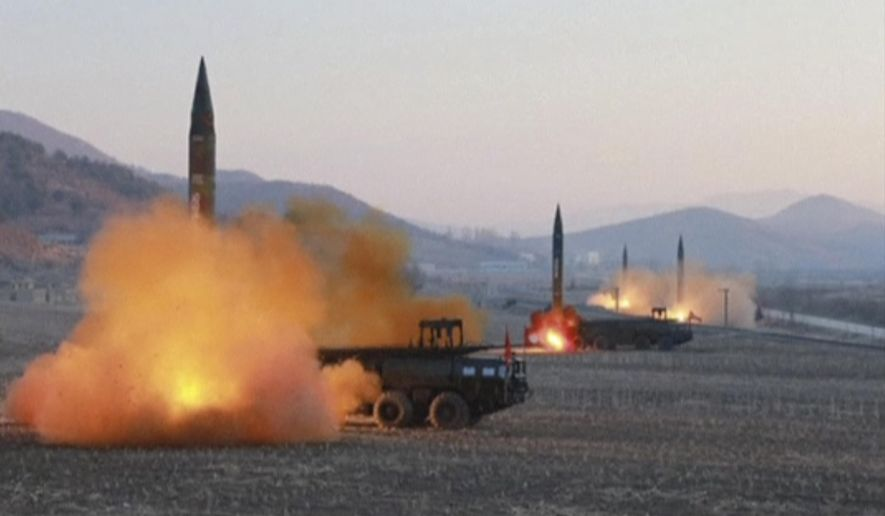The North Korean regime launched test missiles last year in flights precisely designed to avoid interception by rocketing them into much higher altitudes, the Congressional Research Service reported. (Associated Press/File)