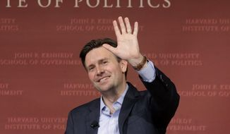 "Former Obama White House press secretary Josh Earnest waves at the conclusion of a forum called ""The Press & the Presidency,"" Tuesday, March 7, 2017, at the John F. Kennedy School of Government on the campus of Harvard University, in Cambridge, Mass. (AP Photo/Steven Senne) ** FILE **"