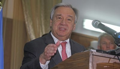 UN Secretary-General Antonio Guterres, addresses the media at the start of his visit to Mogadishu, Somalia, Tuesday, March 7, 2017.  Guterres is conducting high level talks including with Somalia's new President Mohamed Abdullahi Mohamed, to start of what he calls an emergency visit to highlight the country's famine crisis.(AP Photo/Farah Abdi Warsameh)