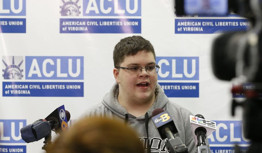 Gloucester County High School senior Gavin Grimm, a transgender student, speaks during a news conference in Richmond, Va., Monday, March 6, 2017. The Supreme Court is leaving the issue of transgender rights in schools to lower courts for now after backing out of a high-profile case Monday of the Virginia high school student who sued to be able to use the boys' bathroom. (AP Photo/Steve Helber)
