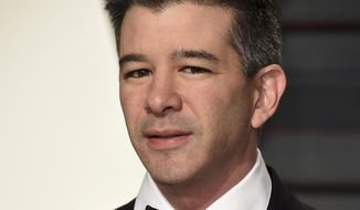 "FILE - In this Sunday, Feb. 26, 2017, file photo, Uber CEO Travis Kalanick arrives at the Vanity Fair Oscar Party in Beverly Hills, Calif. Embattled Uber CEO Travis Kalanick says the company will hire a chief operating officer who can partner with him to write its ""next chapter."" The ride-hailing company has been hit by a series of controversies, including allegations that it routinely ignores sexual harassment, and a video of Kalanick profanely berating a driver who confronted him about steep cuts in Uber's rates for a premium version of its service. (Photo by Evan Agostini/Invision/AP, File)"