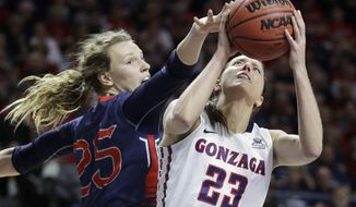 Gonzaga's Kiara Kudron, right, shoots over Saint Mary's Megan McKay in the first half of an NCAA college basketball game during the championship of the West Coast Conference tournament, Tuesday, March 7, 2017, in Las Vegas. (AP Photo/John Locher)
