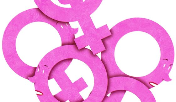 Illustration on radical feminist impact on women by Alexander Hunter/The Washington Times