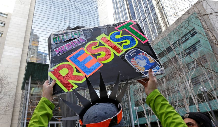 Spurred on by the women's marches in January, liberal groups are hoping to tap into liberal angst over President Trump's election by hosting resistance training seminars to spur a national movement to disrupt the president's policies at ever stop of the way. (Associated Press)