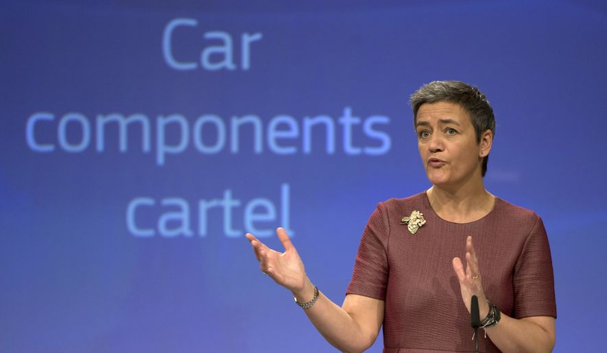European Commissioner for Competition Margrethe Vestager speaks during a media conference regarding a car component antitrust case at EU headquarters in Brussels on Wednesday, March 8, 2017. (AP Photo/Virginia Mayo) ** FILE **