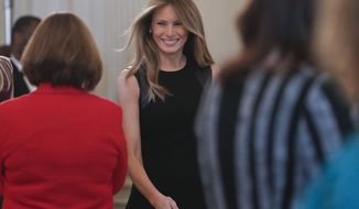 First lady Melania Trump arrives in the State Dining room of the White House in Washington, Wednesday, March 8, 2017, where she hosted a luncheon on International Women's Day.  (AP Photo/Pablo Martinez Monsivais)
