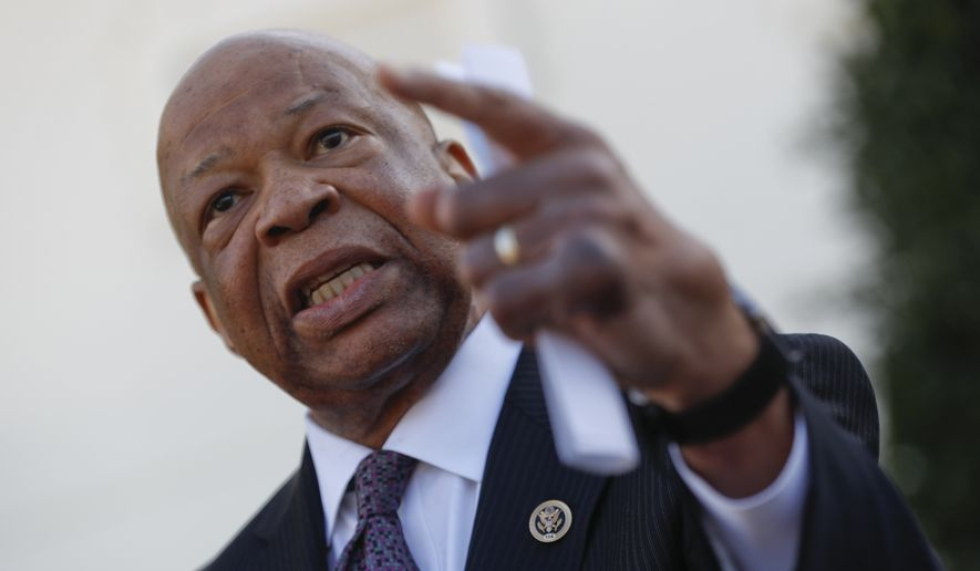 Rep. Elijah Cummings, D-Md. speaks to members of the media outside the West Wing of the White House in Washington, Wednesday, March 8, 2017, following his meeting with President Donald Trump.  (AP Photo/Pablo Martinez Monsivais) ** FILE **