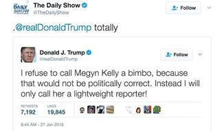 """The Daily Show"" trolled President Trump on Wednesday in a series of tweets marking International Women's Day. (Twitter/@The Daily Show)"