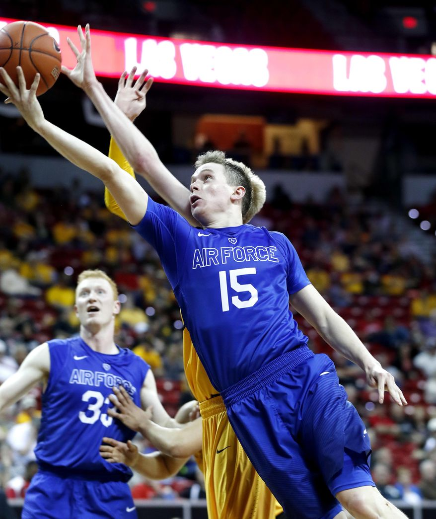 Air Force's Jacob Van shoots during the second half of an NCAA college basketball game against Wyoming in the Mountain West Conference tournament Wednesday, March 8, 2017, in Las Vegas. Air Force defeated Wyoming 83-68. (AP Photo/Isaac Brekken)