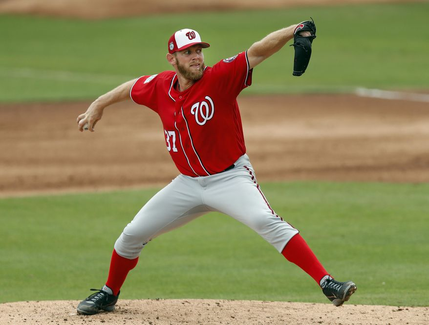 Washington Nationals starting pitcher Stephen Strasburg (37) works in the second inning of a spring training baseball game against the St. Louis Cardinals Wednesday, March 8, 2017, in Jupiter, Fla. (AP Photo/John Bazemore)