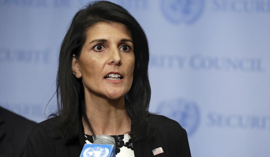 U.S. Ambassador Nikki Haley addresses a news conference after consultations of the United Nations Security Council, Wednesday, March 8, 2017. (AP Photo/Richard Drew)
