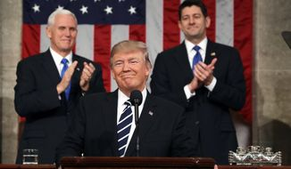 President Trump on Feb. 28 at his first address to a joint session of Congress. (Associated Press/File)
