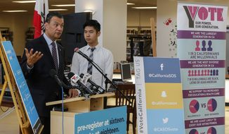 California Secretary of State Alex Padilla, left, joins student Albert Min, for the launch of the California Online Pre-Registration for 16 and 17 Year Olds at Robert F. Kennedy High School in Los Angeles Thursday, March 9, 2017. California youth who pre-register to vote will have their registration become active once they turn 18 years old. Eligible youth can pre-register to vote online at www.registertovote.ca.gov. (AP Photo/Damian Dovarganes)