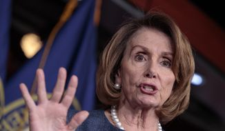 "House Minority Leader Nancy Pelosi of Calif. speaks to reporters about Republican efforts to craft an ""Obamacare"" replacement bill, Thursday, March 9, 2017, on Capitol Hill in Washington. (AP Photo/J. Scott Applewhite)"