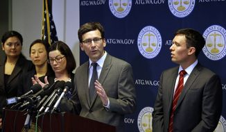 Washington State Attorney General Bob Ferguson speaks at a news conference about the state's response to President Trump's revised travel ban Thursday, March 9, 2017, in Seattle. Legal challenges against Trump's revised travel ban mounted Thursday as Washington state said it would renew its request to block the executive order. It came a day after Hawaii launched its own lawsuit, and Ferguson said both Oregon and New York had asked to join his state's legal action. (AP Photo/Elaine Thompson) **FILE**