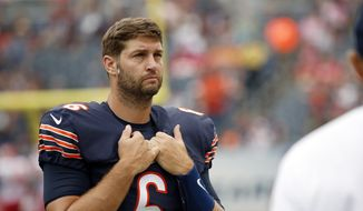 In this Aug. 27, 2016, file photo, Chicago Bears quarterback Jay Cutler (6) waits on the sideline before an NFL football preseason game against the Kansas City Chiefs in Chicago. The Bears released Cutler on Thursday, March 9, 2017, as the NFL free agent market opened. (AP Photo/Nam Y. Huh, File)