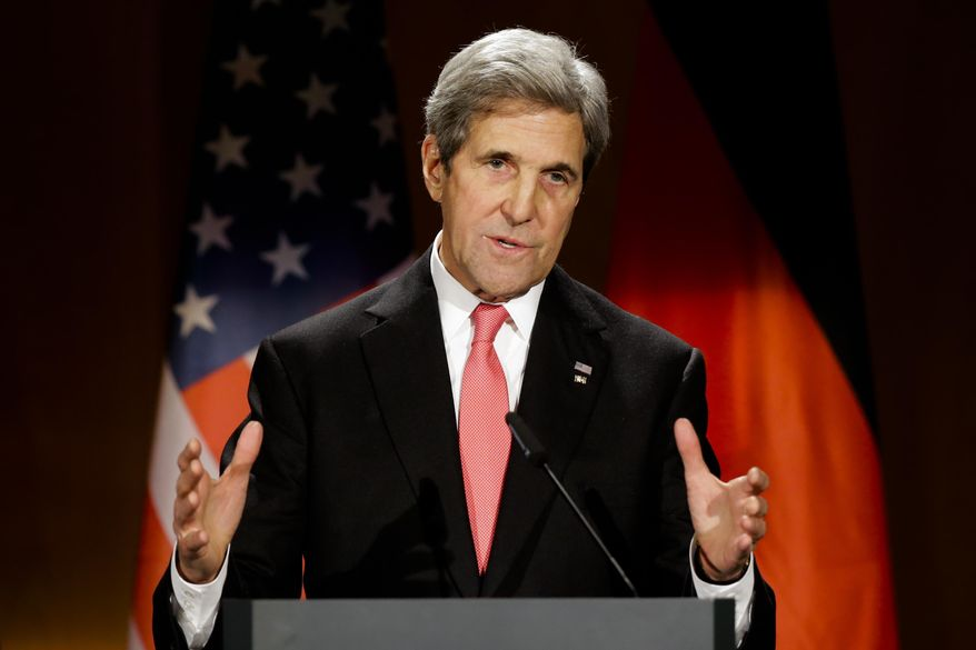 In this Dec. 5, 2016, file photo, then-U.S. Secretary of State John Kerry delivers his speech after he receives Germany's Federal Cross of Merit during a ceremony at the foreign ministry in Berlin. (AP Photo/Markus Schreiber, File)