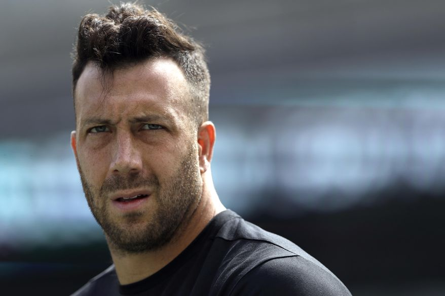 FILE - In this Sept. 11, 2016, file photo, Philadelphia Eagles' Connor Barwin walks the field during warm-ups before an NFL football game against the Cleveland Browns in Philadelphia. The Eagles released Barwin on Thursday, March 9, 2017,  saving $7.75 million in salary cap space. Barwin started all 64 regular-season games in his four years with the Eagles and leaves Philadelphia tied for 13th in team history with 31 and a half sacks. (AP Photo/Michael Perez, File)