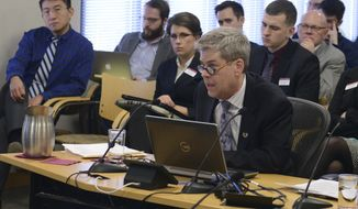 ADVANCE FOR WEEKEND EDITIONS - In this Feb. 10, 2017, photo, Boynton Health Chief Medical Officer Gary Christenson gives an update on student mental health to the Board of Regents Academic and Student Affairs Committee at the McNamara Alumni Center in Minneapolison. (Carter Jones/The Minnesota Daily via AP)