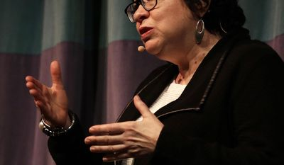 U.S. Supreme Court Justice Sonia Sotomayor gestures during a speech at the University of California at Berkeley on Thursday, March 9, 2017, in Berkeley, Calif. (AP Photo/Ben Margot)