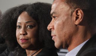 Former Brazilian soccer player Cafu, right, and FIFA Secretary General Fatma Samoura attend a news conference after a ceremony marking 100 days until the start of the FIFA Confederations Cup 2017 at the new 'Saint Petersburg' stadium at the Krestovsky Island in St.Petersburg, Russia, Thursday, March 9, 2017. (AP Photo/Dmitri Lovetsky)