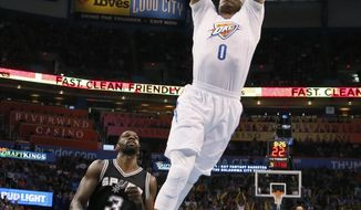 Oklahoma City Thunder guard Russell Westbrook (0) dunks in front of San Antonio Spurs center Dewayne Dedmon during the first quarter of an NBA basketball game in Oklahoma City, Thursday, March 9, 2017. (AP Photo/Sue Ogrocki)